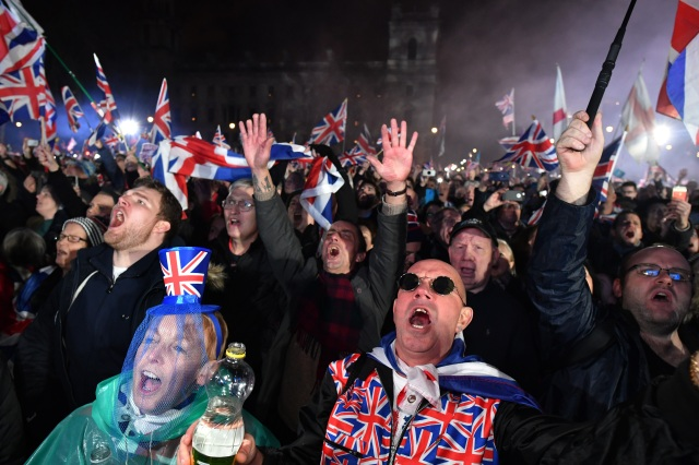 Brexit supporters celebrate in Parliament Square in London as the UK formally leaves the European Union on Jan. 31, 2020. (Jeff J Mitchell/Getty Images)