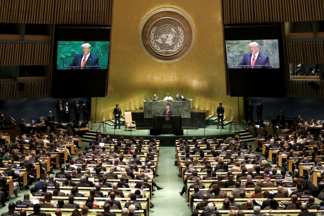 President Donald Trump addresses the UN General Assembly in New York City as it opens its 74th session on Sept. 24, 2019.
