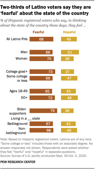 Two-thirds of Latino voters say they are 'fearful' about the state of the country