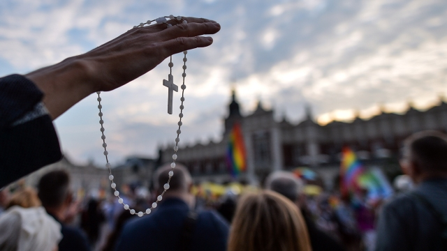 Members of a Polish anti-LGBT group praying at a counter protest during the August 2020 Krakow Equality March. (Artur Widak/NurPhoto via Getty Images)