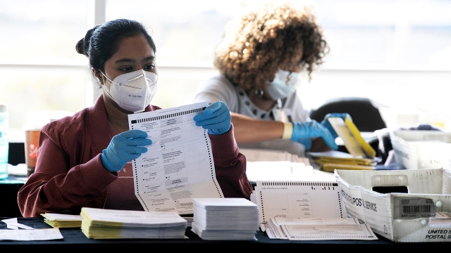 Election workers count Fulton County ballots at State Farm Arena in Atlanta on Nov. 4, 2020. (Jessica McGowan/Getty Images)