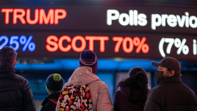 People gather in Times Square as they await election results on Nov. 3, 2020, in New York City. (David Dee Delgado/Getty Images)