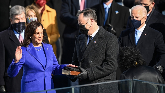 Kamala Harris is sworn in as vice president by Supreme Court Justice Sonia Sotomayor on Jan. 20, 2021, in Washington as Harris' husband, Doug Emhoff, and Joe Biden look on. (Jonathan Newton/The Washington Post via Getty Images)
