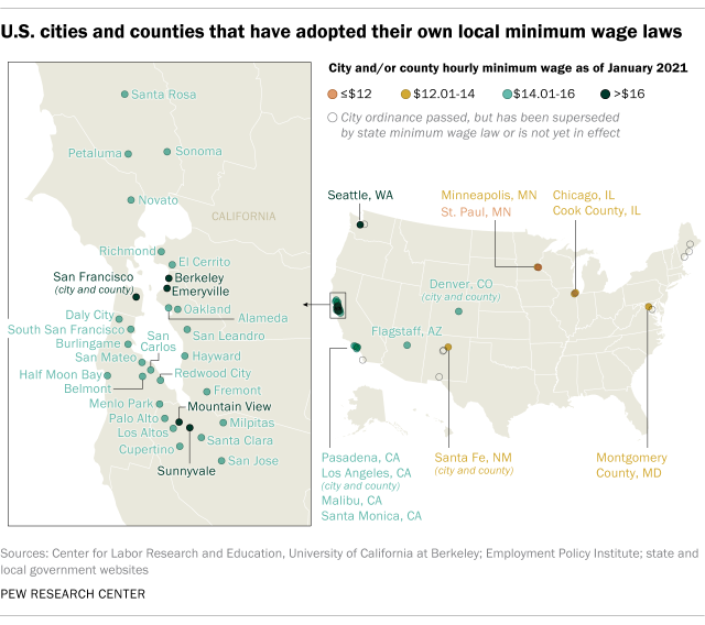 U.S. cities and counties that have adopted their own minimum wage laws