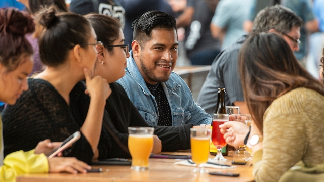 Friends gather at a food hall in Garden Grove, California, on Sept. 26, 2019. (Leonard Ortiz/MediaNews Group/Orange County Register via Getty Images)