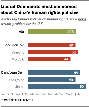Liberal Democrats most concerned about China's human rights policies