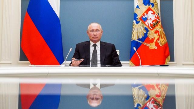 Russian President Vladimir Putin attending a virtual event in June 2020. (Alexei Druzhinin/TASS via Getty Images)