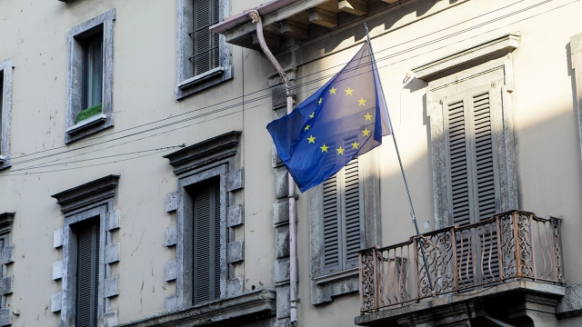 A European Union flag in Milan, Italy, during a nationwide lockdown due to the coronavirus in March 2020. (Mairo Cinquetti/NurPhoto via Getty Images)