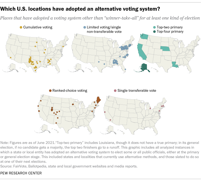 Which U.S. locations have adopted an alternative voting system?