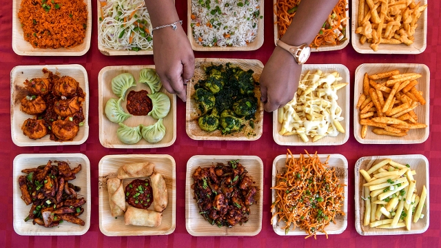 Dishes on display at a food stall at a vegetarian food festival in Bangalore.