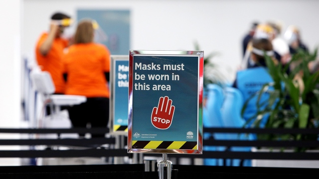 COVID-19 signage at the South Western Sydney Vaccination Centre on July 26, 2021, in Sydney, Australia.