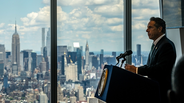 New York Gov. Andrew Cuomo holds a press conference at One World Trade Center in New York City.