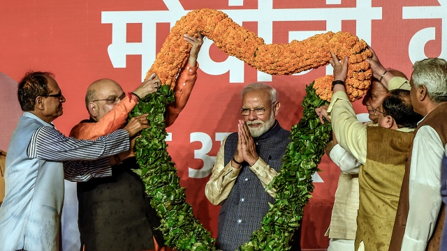 Indian Prime Minister Narendra Modi celebrates the political victory of the Bharatiya Janata Party (BJP) on May 23, 2019, at the BJP headquarters in New Delhi.