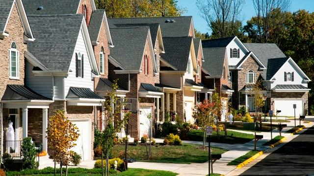 A neat line of suburban houses in Fairfax, Virginia.