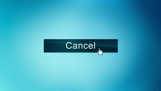 """An illustration of a computer screen with a cursor hovering over a button marked """"cancel."""""""