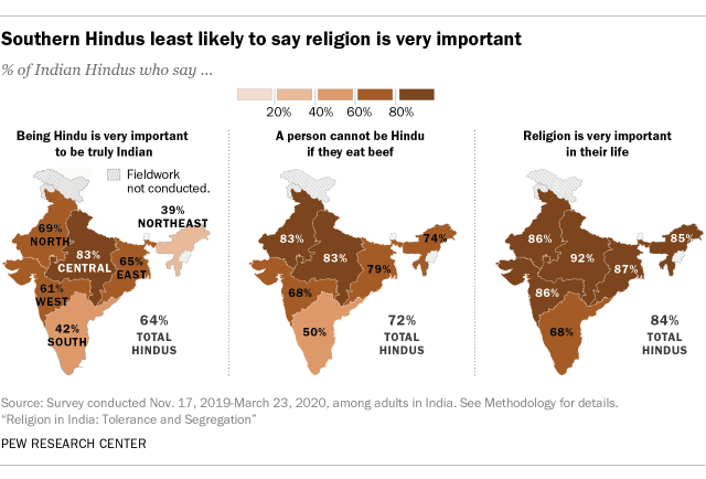 A map showing that Southern Hindus are the least likely to say religion is very important