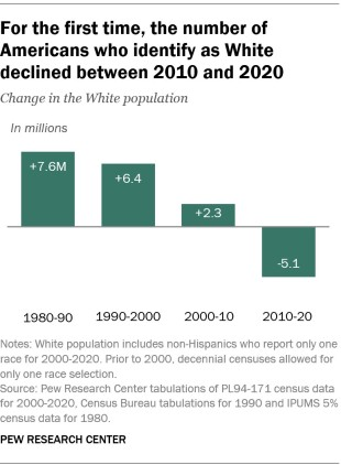 A bar chart showing that for the first time, the number of Americans who identify as White declined between 2010 and 2020