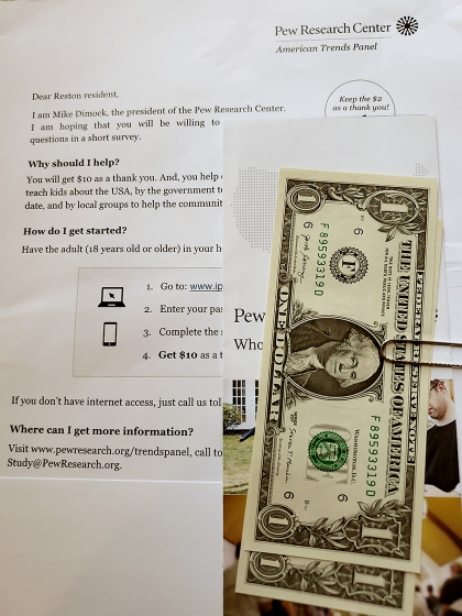 A sample invitation to complete a Pew Research Center survey via the American Trends Panel.