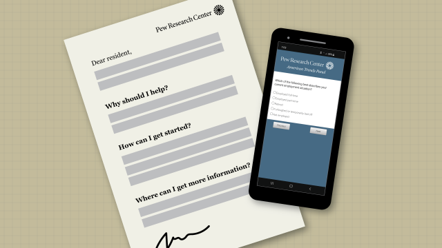 An illustration of a sample invitation to complete a Pew Research Center survey via the American Trends Panel.