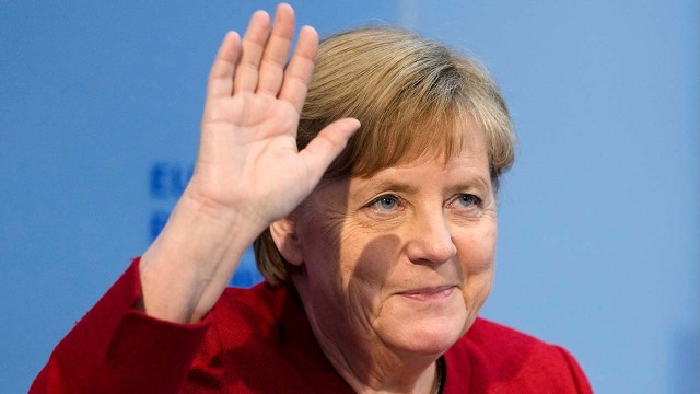 Chancellor Angela Merkel arrives at the Chancellery in Berlin on June 28, 2021.