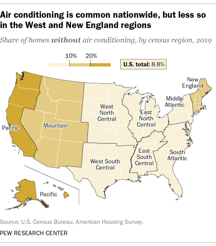 A map showing that air conditioning is common nationwide, but less so in the West and New England regions