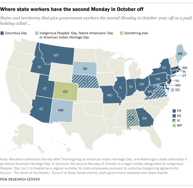 A map showing where state workers have the second Monday in October off