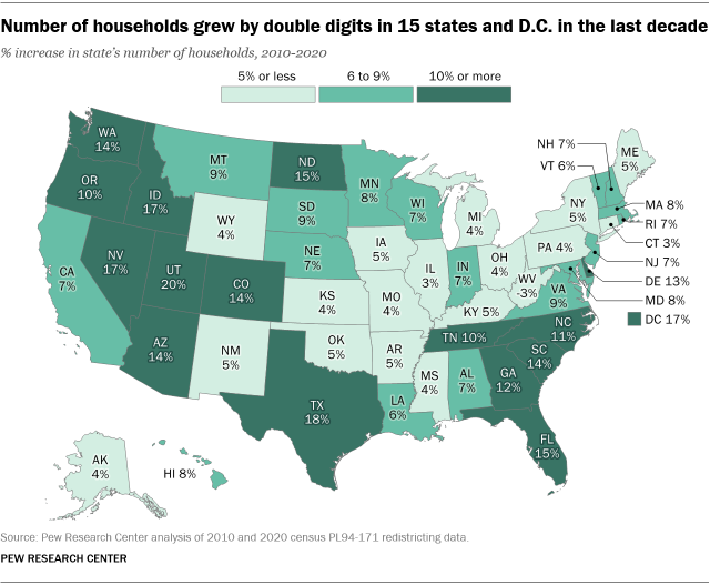 A map showing that the number of households grew by double digits in 15 states and D.C. in the last decade
