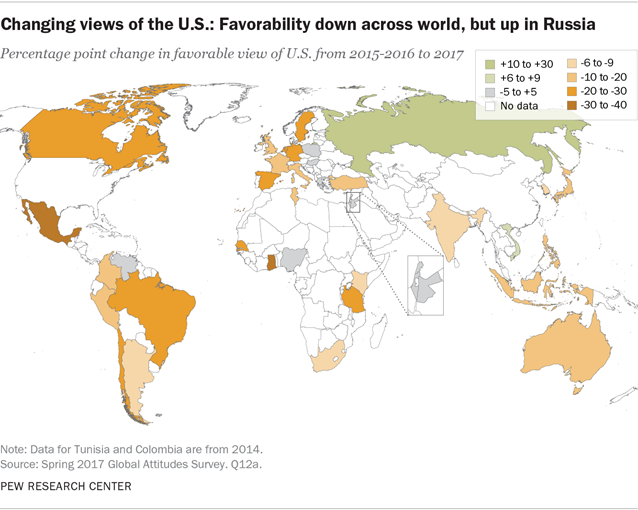 Trump Unpopular Worldwide American Image Suffers Pew Research Center - World-map-with-us-in-center