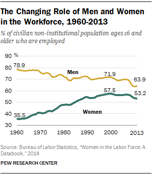 The Changing Role of Men and Women in the Workforce, 1960-2013