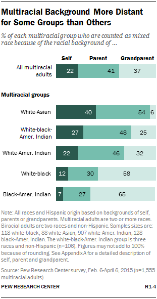 Multiracial Background More Distant for Some Groups than Others