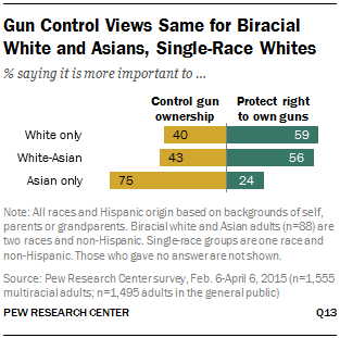 Gun Control Views Same for Biracial White and Asians, Single-Race Whites