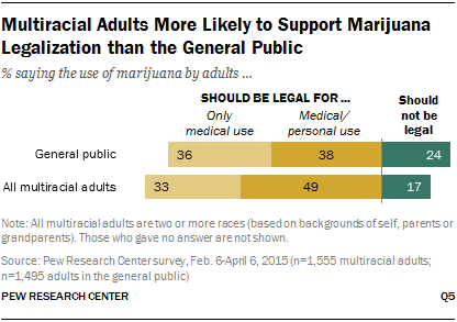 Multiracial Adults More Likely to Support Marijuana Legalization than the General Public