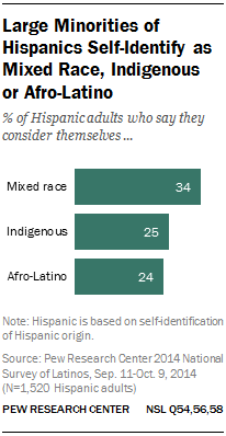 Large Minorities of Hispanics Self-Identify as Mixed Race, Indigenous or Afro-Latino