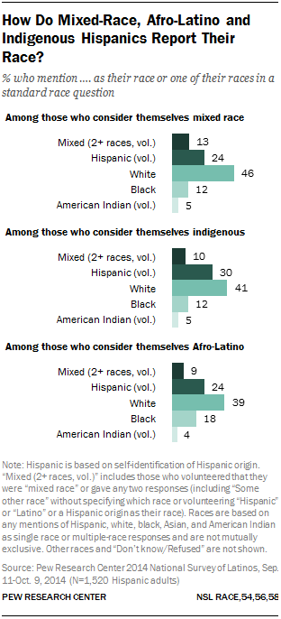 How Do Mixed-Race, Afro-Latino and Indigenous Hispanics Report Their Race?
