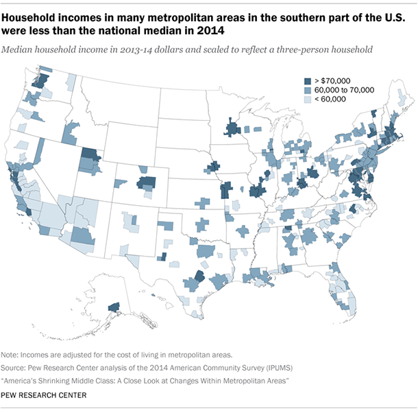 Household incomes in many metropolitan areas in the southern part of the U.S. were less than the national median in 2014