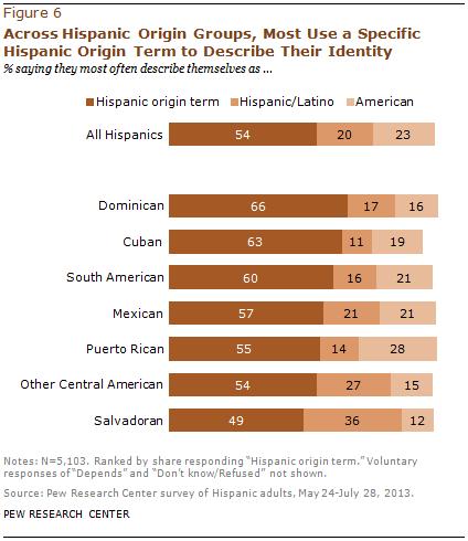 Across Hispanic Origin Groups, Most Use a Specific Hispanic Origin Term to Describe Their Identity
