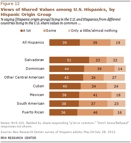 Views of Shared Values among U.S. Hispanics, by Hispanic Origin Group