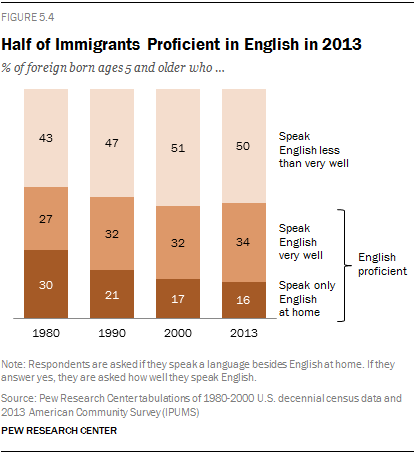 Half of Immigrants Proficient in English in 2013