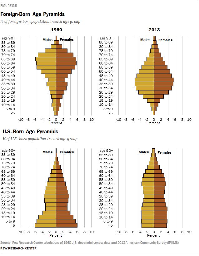 Foreign-Born and U.S.-Born Age Pyramids