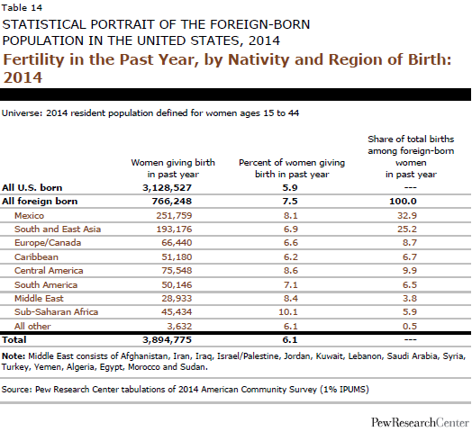 Fertility in the Past Year, by Nativity and Region of Birth: 2014