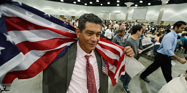 A Mexican-born man celebrates after taking the U.S. oath of citizenship in a naturalization ceremony at the Los Angeles Convention Center. (Kevork Djansezian/Getty Images)