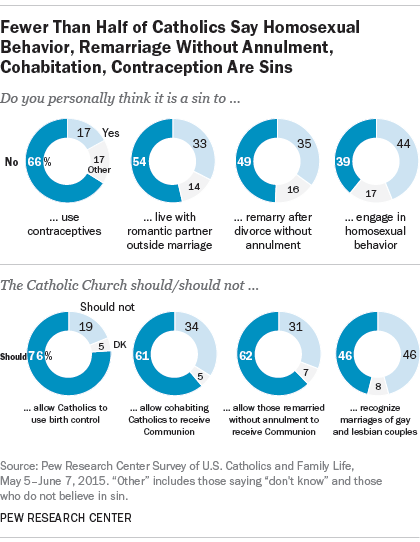 Fewer Than Half of Catholics Say Homosexual Behavior, Remarriage Without Annulment, Cohabitation, Contraception Are Sins