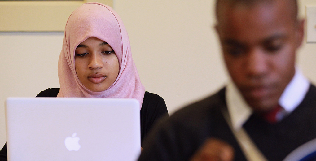 BERKELEY, CA - AUGUST 30: Naeemah Gilchrist (L) works on her computer between classes at Zaytuna College August 30, 2010 in Berkeley, California. Zaytuna College opened its doors on August 24th and hopes to become the first accredited four-year Islamic college in the United States. The school was founded by three Muslim-American scholars and offers degrees in Islamic law, theology and Arabic languages. Fifteen students are enrolled in the inaugural class and the school hopes to increase that number to 2,200 within ten years. (Photo by Justin Sullivan/Getty Images)