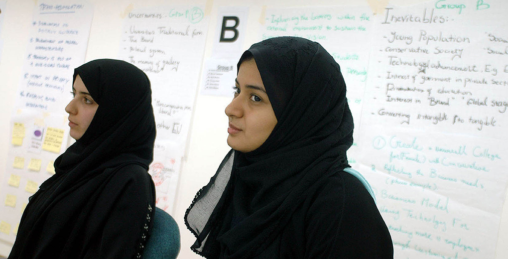 Female students, like these at Dar Al-Hekma University in Saudi Arabia, are part of a surge in post-secondary attainment by women in Gulf Cooperation Council countries. (Kaveh Kazemi/Getty Images)
