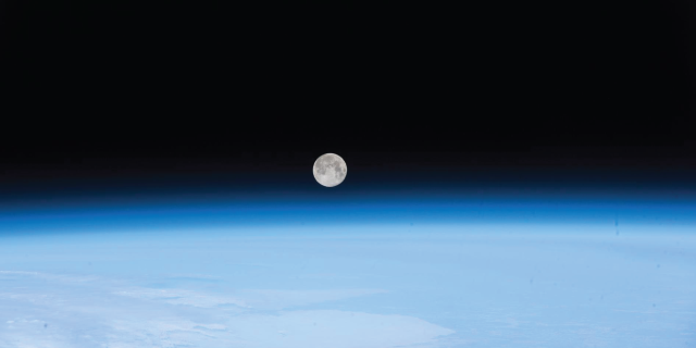 (April 30, 2018) --- The full moon was pictured April 30, 2018 as the International Space Station orbited off the coast of Newfoundland, Canada.